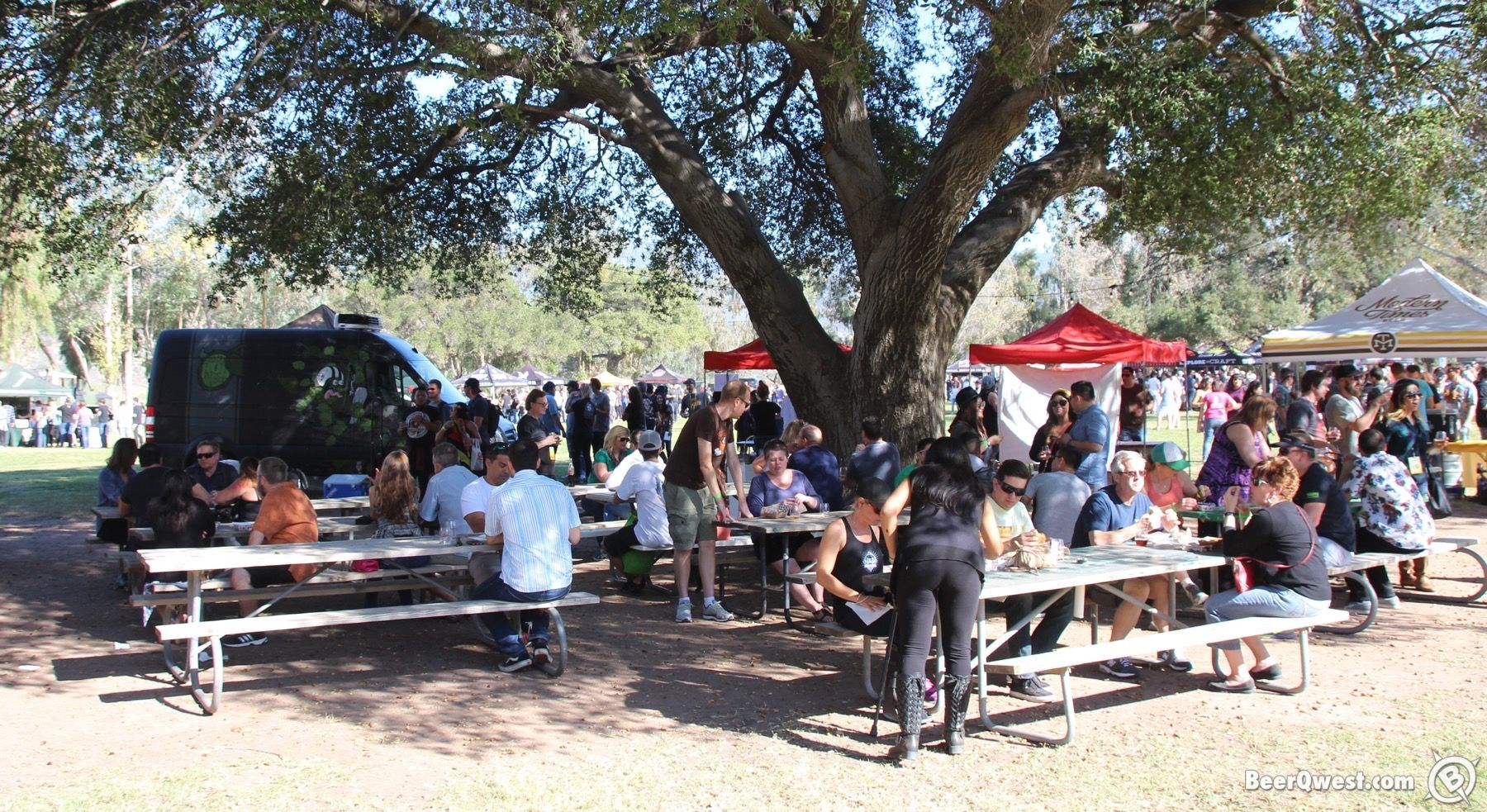 Picnic tables at Cali Uncorked.